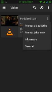 Obrázek: VLC Android - možnosti přehrávání videa