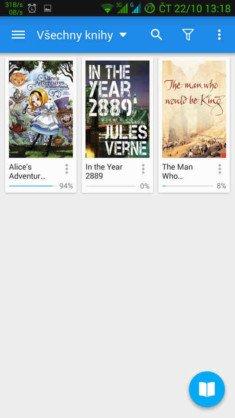 Obrázek: Moon+Reader - seznam knih