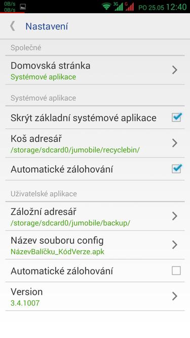 Obrázek: System app remover nastavení