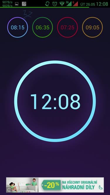 Obrázek: Neon budík - úvodní obrazovka