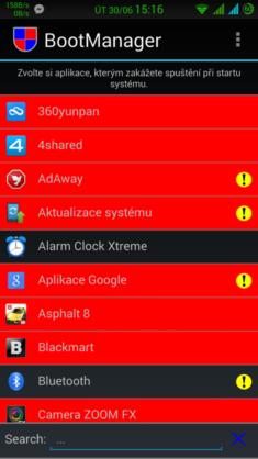 Seznam aplikací s autostartem (červené zakázané)
