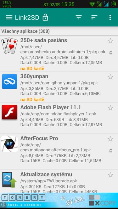 Obrázek: Link2SD - seznam aplikací