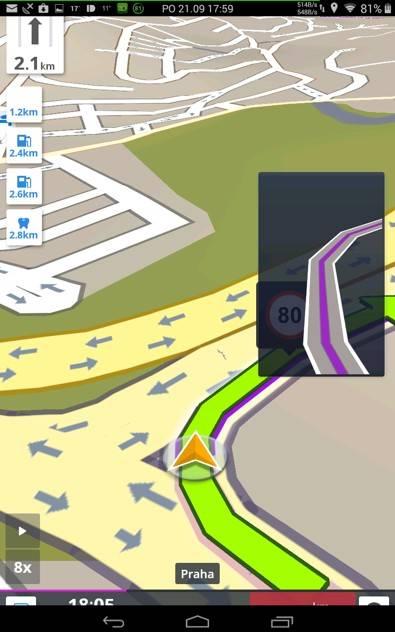 Obrázek: Sygic řazení do pruhů