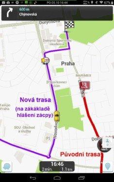Obrázek: Waze - změna trasy