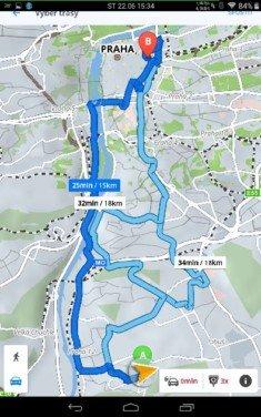 Obrázek: Sygic - mapa po naplánování
