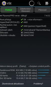 Obrázek: Titanium Backup - úvodní obrazovka