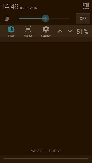 Obrázek: Blue Light Screen Filter- Ovládání v listě