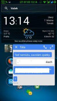 Obrázek: Náhled SMS s možností okamžité odpovědi