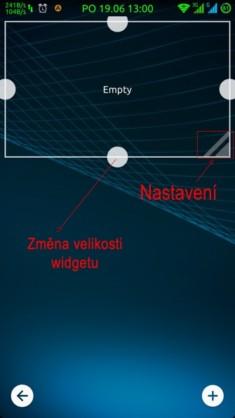 Obrázek: Přidávání widgetu