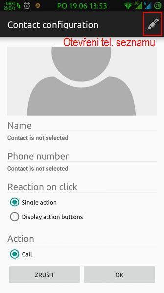 Obrázek: Výběr kontaktu a přiřazení akce