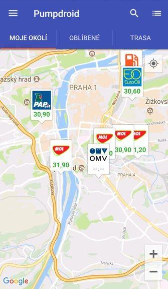 Obrázek: Benzínky dle parametrů v blízkém okolí.