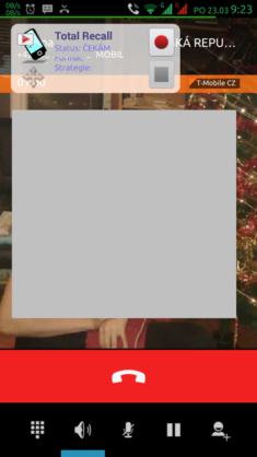 Plovoucí widget dovoluje začít/ukončit nahrávání během hovoru (tento kontak je vyloučený za nahrávání). Jeho pozici lze měnit.