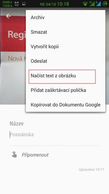 Obrázek: Keep - převod na text