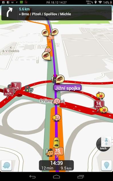 Obrázek: Waze - změna trasy v reálném čase