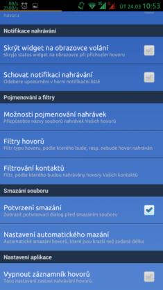 Filtr kontaktů - zvolené kontakty nebudou nahrávány.