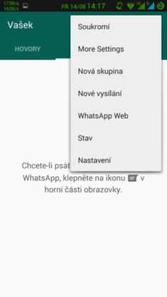 Obrázek: whatsapp plus - nové volby v menu