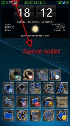 Obrázek: Ikona oznamující proměnu telefonu v router.
