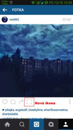 Obrázek: Zoom for Instagram - nové tlačítko